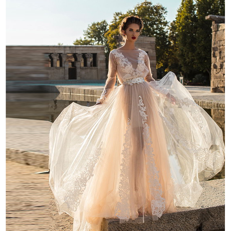 Verngo Aline Ruff Sleeve Wedding Dress Appliques Tulle Gowns Elegant Bride  Boho Trouwjurk