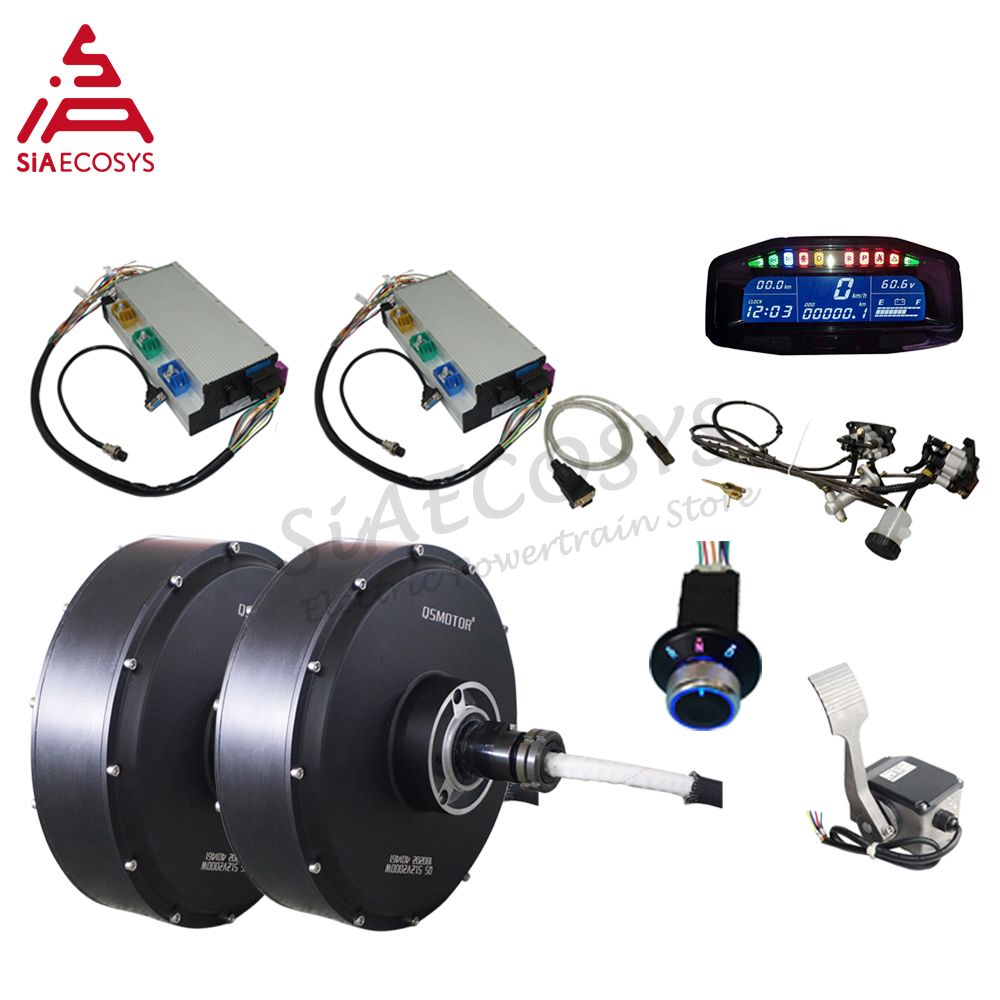 QSMOTOR 12inch 5000W 72V 90kph Dual Hub Motor Wheel Electric Car Conversion Kit for Electric ATV Car image