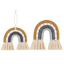 Home Decor Rainbow Weaving Ornament Nordic Fresh Simple Kid Room Wall Hanging P31B