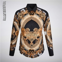 VAGUELETTE Luxury Gold Printed Men Shirt With Long Sleeve Slim Fit Black Shirts Party/Stage/Club Fashion Dress M-3XL