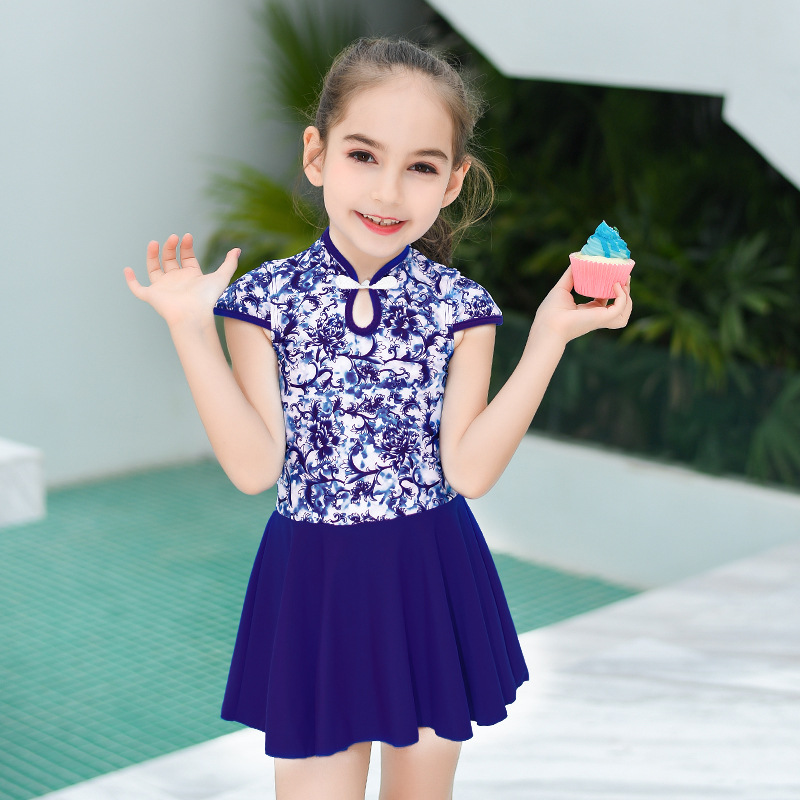 2019 New Style Hot Sales KID'S Swimwear Blue Pattern Retro National Wind Cheongsam Dress-Hipster GIRL'S Swimsuit