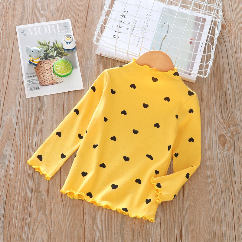 Весенне-осенняя футболка с длинными рукавами для девочек модная детская рубашка в горошек с высоким воротником в европейском и американском стиле - Цвет: Цвет: желтый