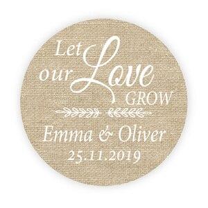 DouxArt 100 piezas, pegatinas personalizadas para recuerdos de boda, 4cm de lino, decoración para fiesta de boda, etiquetas de caja de regalo