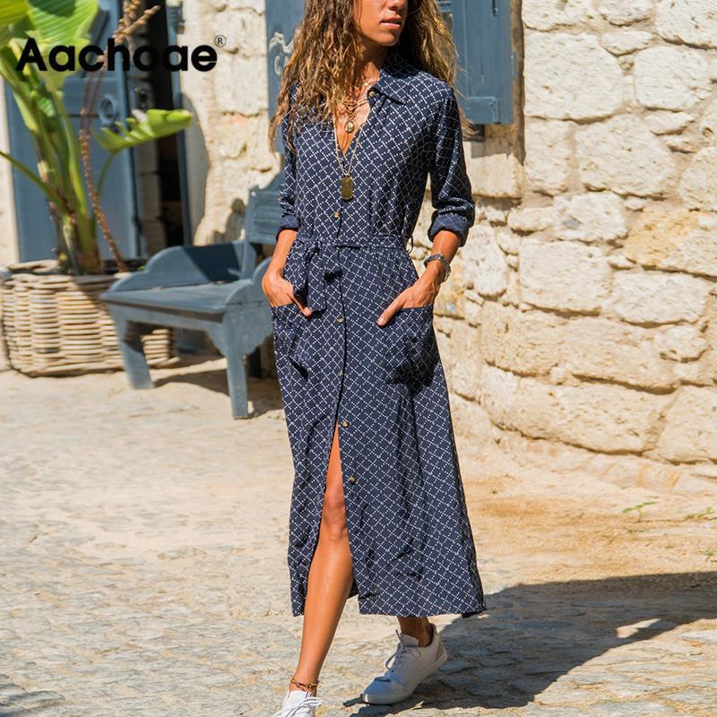 Aachoae Women Casual Plaid Print Dress Long Sleeve Pockets Lady Dresses Sashes Mid Calf Length Sundress Turn Down Collar Robe