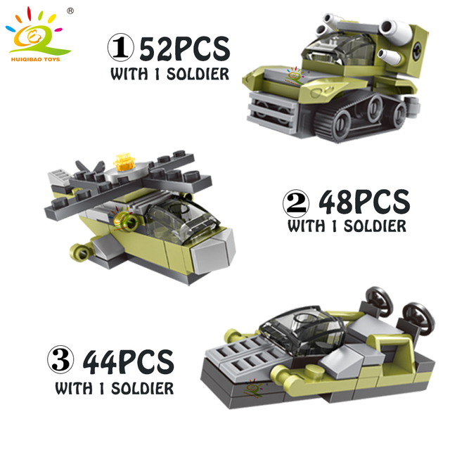 HUIQIBAO Military 296PCS 6IN1 WW2 Soldier Truck Building Block Army Weapon tank Car helicopter figures Bricks set Children Toys
