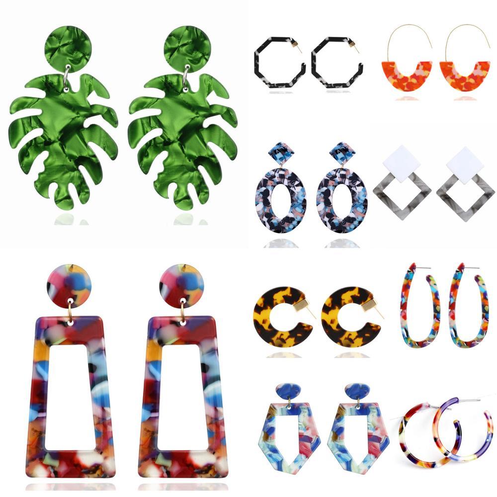 Женские серьги, массивные серьги, Геометрическая подвеска, трендовая бижутерия, Висячие Подвесные серьги, очаровательные красочные