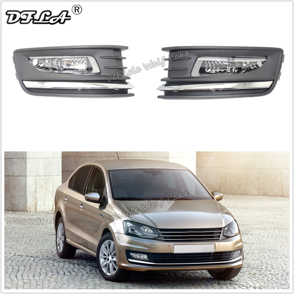 For VW Polo Sedan 2016 2017 2018 2019 Car-styling Front Bumper Halogen Fog Lamp Fog Light And Fog Lamp Grille