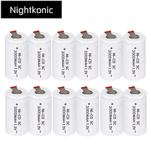 Original High Quality  NIGHTKONIC 12 PCS/LOT  SC battery 3000mAh rechargeable subc battery replacement 1.2 v NI-CD with tab цена 2017