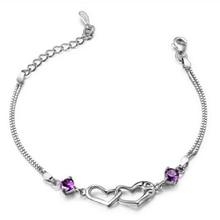 High quality copper Chain Bracelet silver Color Women Love Heart Link Bracelet Crystal Bracelets Bangles Valentine's Day Gift A3 недорого