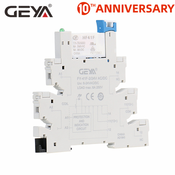 GEYA Slim Relay Module Protection Circuit 6A Relay 12VDC/AC or 24VDC/AC Relay Socket 6.2mm thickness