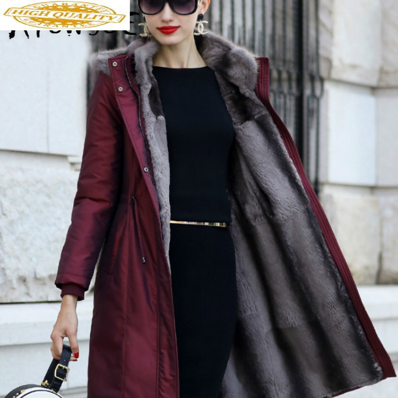 2019 New Real Fur Coat Women Rex Rabbit Fur Coat Winter Coat Women Real Mink Fur Collar Warm Parka Abrigo Mujer TZ-18802 YY1641