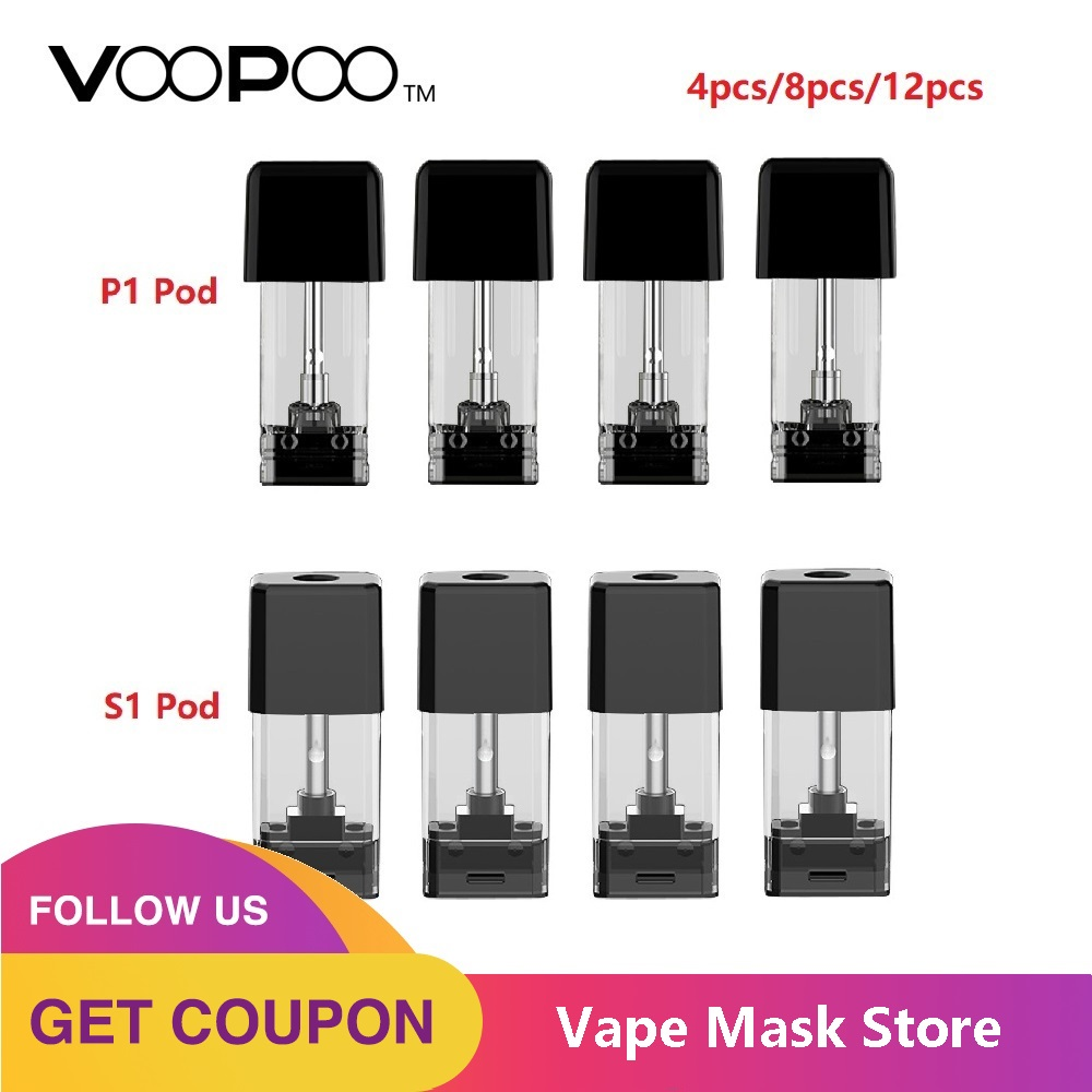 4pcs 12pcs VOOPOO Drag NANO Pod Cartridge 1.0ml Pod-S1 With 1.8ohm Coil & 1.6ml Pod-P1 With 1.5ohm Coil For VOOPOO Drag NANO