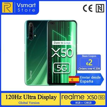 Перейти на Алиэкспресс и купить Realme X50 X 50 5G 8 ГБ 128 6,57 ''Смартфон Snapdragon 76 5G 120 Гц ультра Дисплей 48MP Quad камер мобильных телефонов 30 Вт Быстрый Зарядное устройство