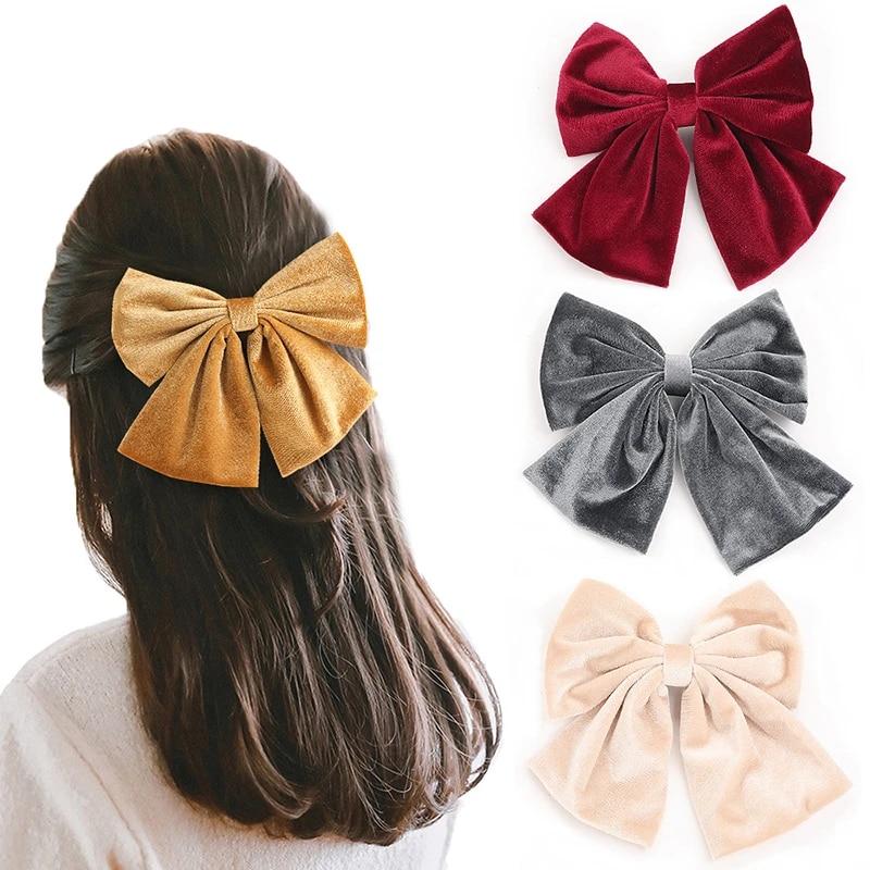 Fashion Women Velvet Hair Pins Barrette Big Bow Spring Clip Ponytail Accessories