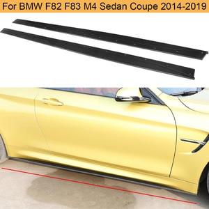 Saias laterais do carro de fibra de carbono avental para bmw f82 f83 m4 sedan coupe 2014-2019 porta pára-choques saias laterais avental spoiler corpo kits