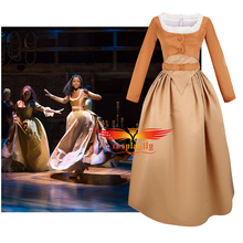 Anime Musical Rock Opera Hamilton Angelica Hamilton Cosplay Costume 3 Type Bridesmaid Gown Khaki Prom Dress for Women Halloween