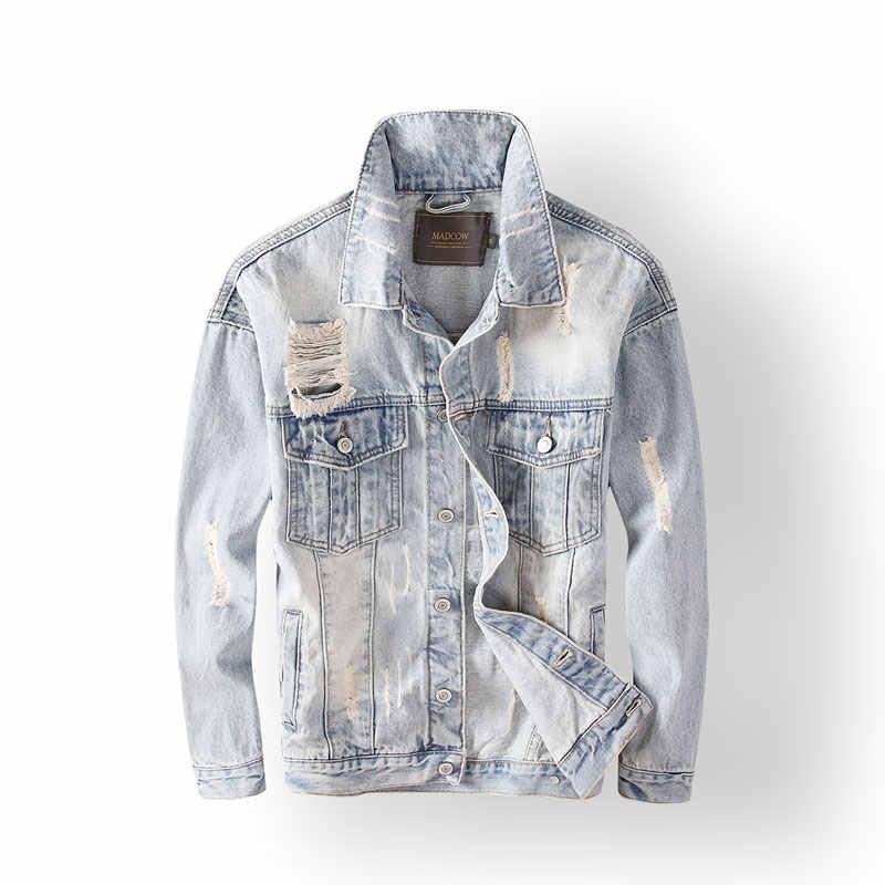 Nieuw Fashion Mannen Jassen Hoge Kwaliteit Retro Light Blue Ripped Denim Jas Mannen Punk Jassen Gedrukt Designer Hip Hop Jasje homme