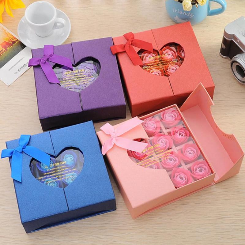 New 16pcs/Box Creative Heart Rose Flower Bath Body Scented Soap Valentine Day Gift Wedding Decoration Festival Box Best