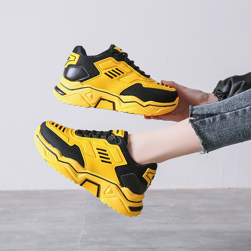 2020 Women Chunky Sneakers Designers Yellow Casual Shoes Ulzzang Fashion Basket Female Trainers Woman Platform Sneaker Size 42