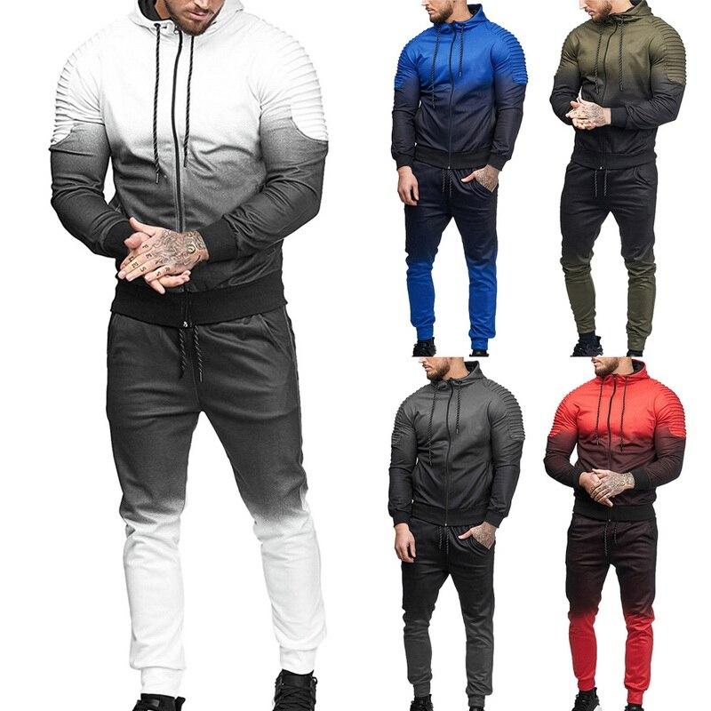Men Sportwear Set Zipper Hooded Sweatshirt 3D Print Pleated Sweatshirt Pants Suit Autumn Jacket Trousers Tracksuit