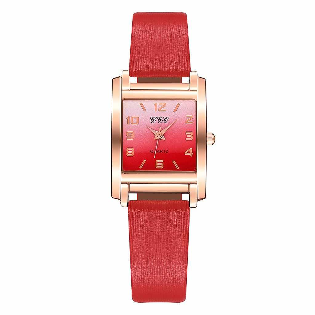 女性ミニマリスト幾何スクエア勾配マットの革の女性クォーツ時計腕時計女性の腕時計リロイ mujer часы женские