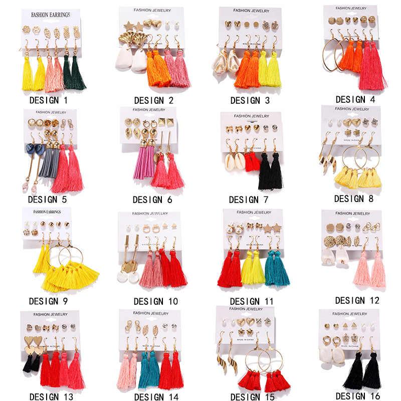 Mixed Stil Quaste Perle Stud Ohrringe Set Für Frauen Kreis Koreanische Mode Geometrische Minimalistischen DIY Böhmischen Schmuck 6 paare/satz