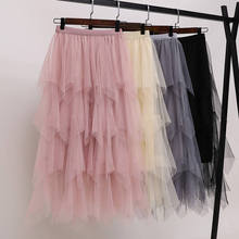 Womens Tulle Plain Pleated Skirt 2019 New Fashion Black Beige White Pink Grey Mesh Midi High Waist Woman Skirts 3 Layers