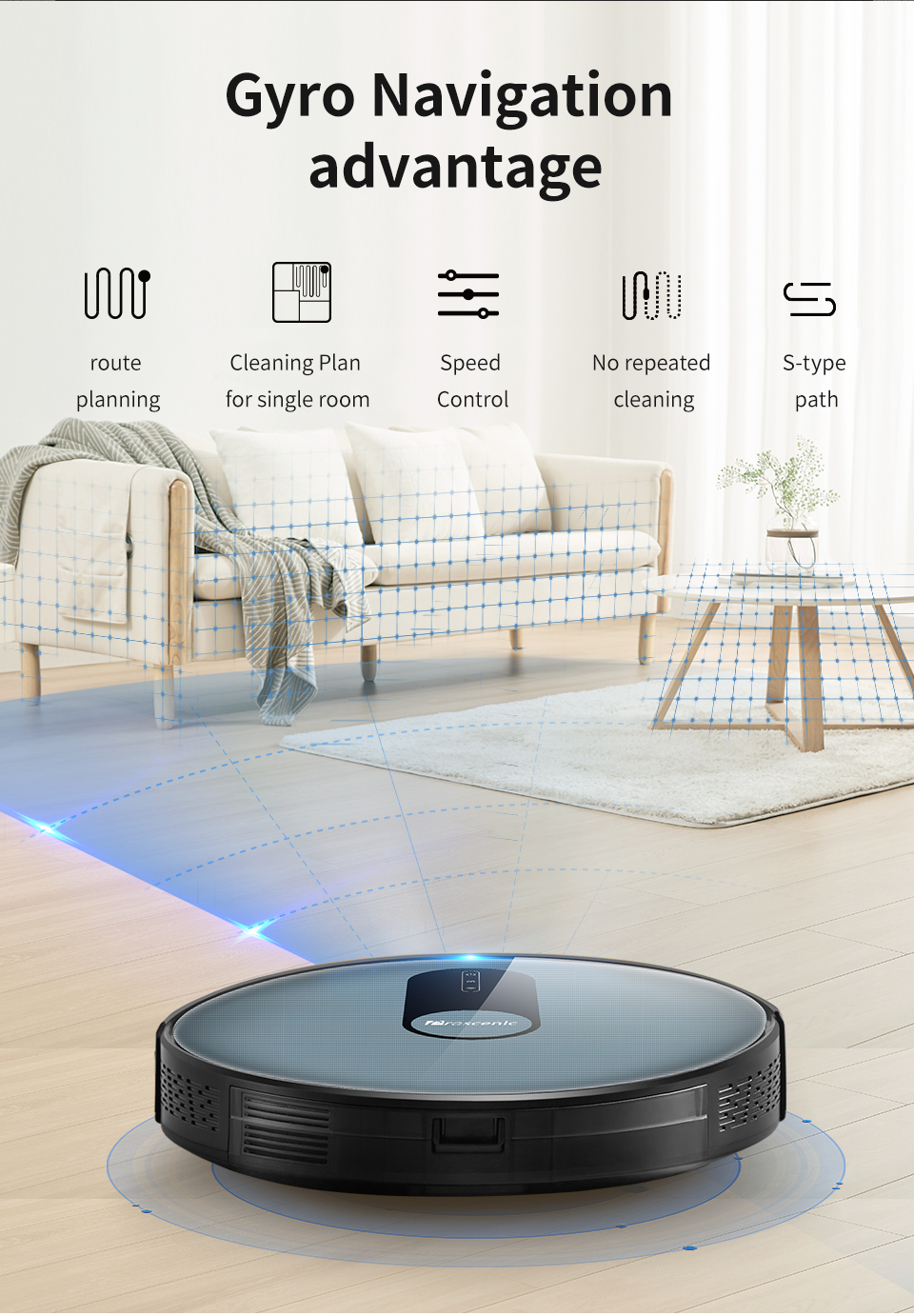H20635fbd55e040e8852f05980d7a140bK Proscenic 820P Robot Vacuum Cleaner Smart Planned 1800Pa Suction with wet cleaning for Home Carpet Cleaner Washing Smart Robot