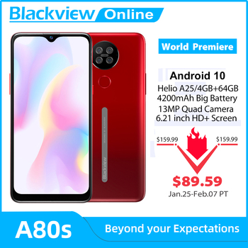 Blackview A80s Android 10 Smartphone 4GB RAM+64GB ROM Octa Core 13MP Rear Camera 4200mAh Face Fingerprint Unlock 4G Mobile Phone