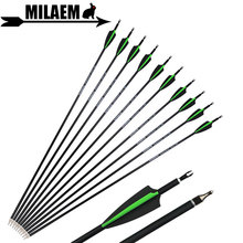 6/12/24/36pcs Archery Mix Carbon Arrows Spine 500 30inch ID6.2mm OD7.8mm Compound /Recurve Bow And Arrow Shooting Accessories