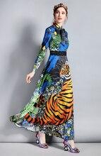 Baogarret Spring Fashion Designer Maxi Dress Women's Long Sleeve Bow Collar Floral Animal Print Long Vintage Dress