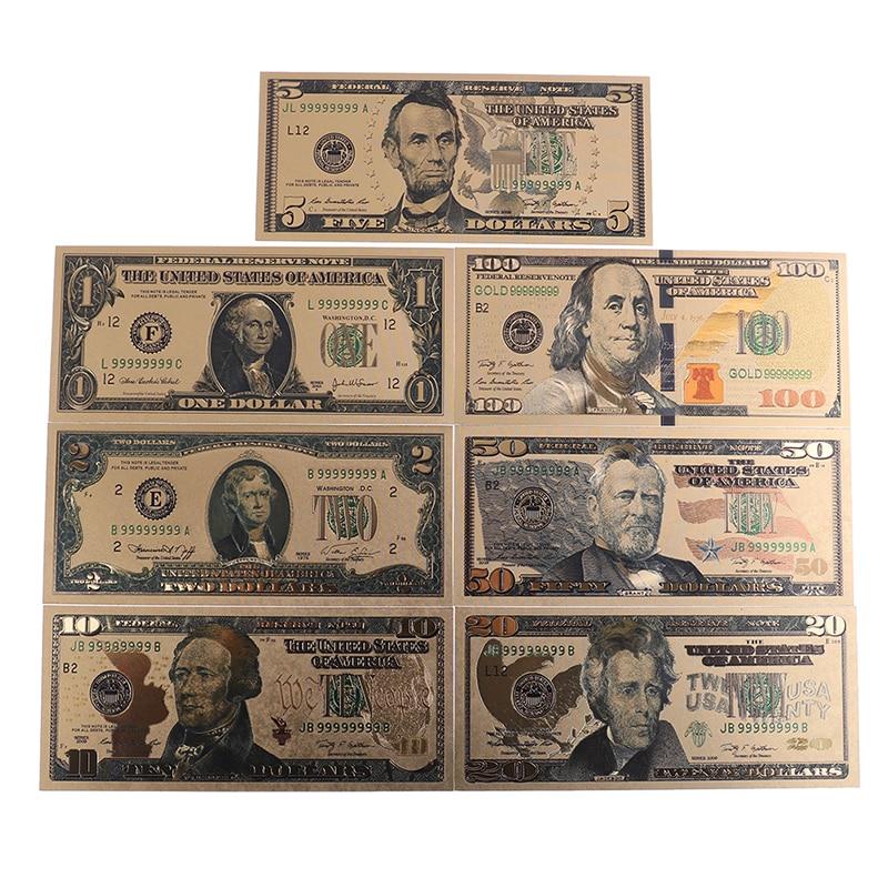 7pcs/Set 24K replica Gold Plated Souvenir Home Decoration Realistic Banknotes Dollars Antique Plated Commemorative Notes Plastic