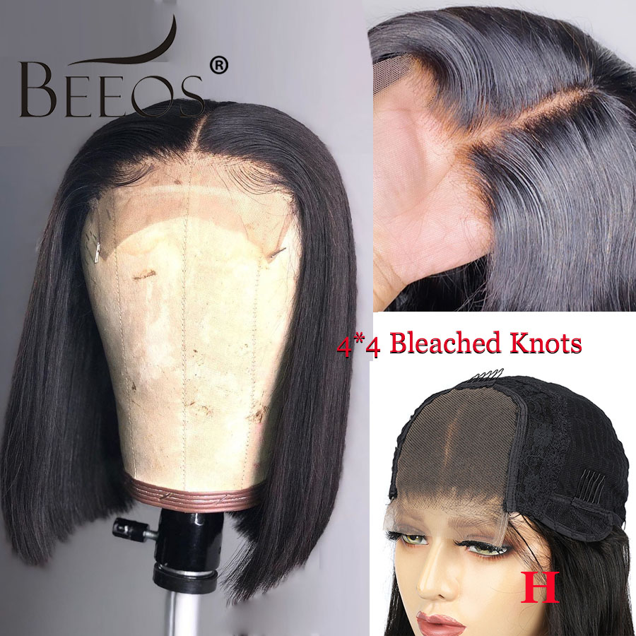 Beeos 150% Closure Short Straight Bob Wigs Middle Part Lace Wig Brazilian Human Hair Wigs 4×4 Lace Wig Remy Pre Plucked