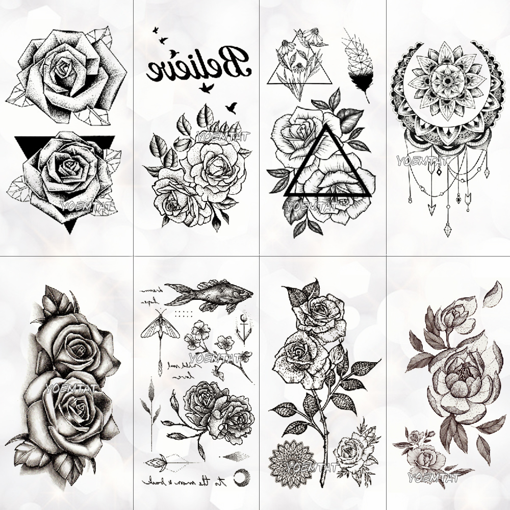 Waterproof Temporary Tattoo Stickers On The Body Art Temporary Men Tattoos Lines Rose Fake Tattoo Stickers Temporary Tattoos