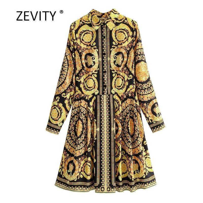 New Euro Women vintage totem flower print pleats shirt dress female long sleeve vestido chic casual slim business Dresses DS4117