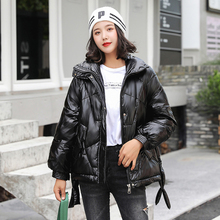 Brieuces 2019 Winter Down Parka Womens Glossy Hooded Jackets Large Size Winter Warm Thick Parka Loose Coat Winter Women Jacket