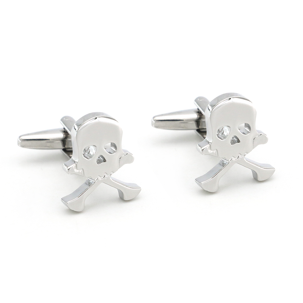 Skull Design Human Skeleton Cufflinks Quality Brass Material Silver Color Cuff Links Wholesale & Retail