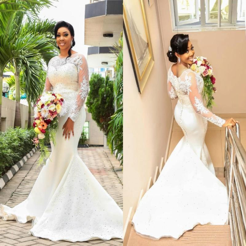 Lace Mermaid Wedding Dresses Long Sleeves Jewel Appliques Beaded Sweep Train African Bridal Gowns Plus Size Wedding Dress