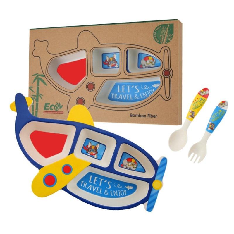 3pcs/Set Bamboo Fiber Childrens Plate Aircraft Shape Grid Bowl Eating Fork Spoon Set Baby Feeding Tableware Kids