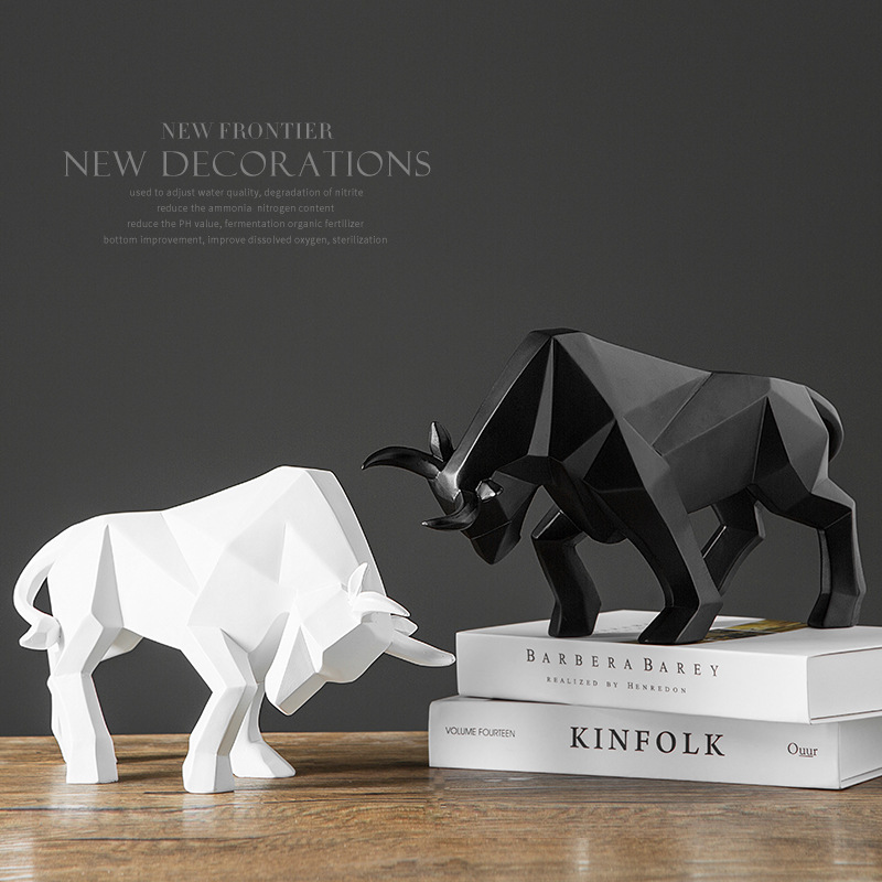 Resin Bull Statue Bison/Ox Sculpture Abstract Figurine Home Decoration Modern/accessories Nordic Decoration Home Decor Statues