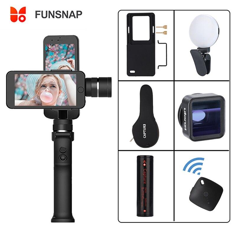 Captura de Funsnap 3 Eixo Smartphones Handheld Cardan Gopro Gopro Estabilizador para iPhone Xs Max XR Piexl 7 6 5 Y EKEN H9