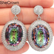 New Arrival Long Big Heavy Fire Rainbow Mystic Topaz CZ Womans Gift Silver Pendant 40x22mm