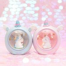 어린이를위한 유니콘 LED 야간 조명 아기 어린이 침대 옆 램프 어린이 장난감 동물 침실 장식 조명 생일 선물