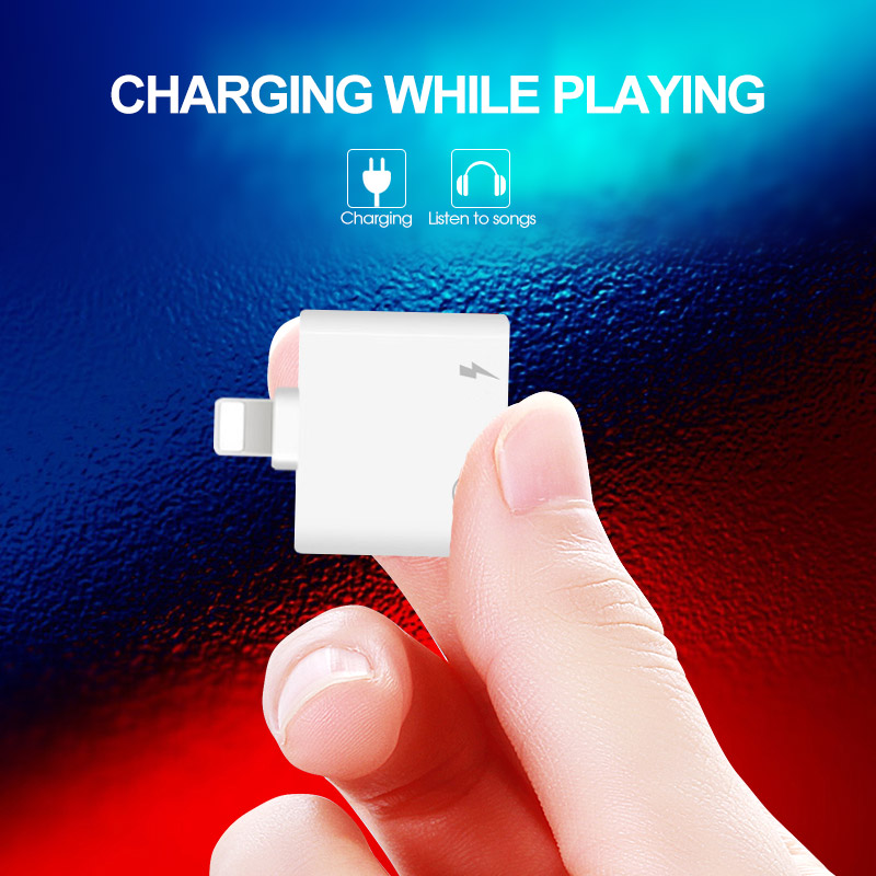 2 In 1 For IPhone Adapter AUX For Apple IPhone XS MAX XR X 7 8 Plus IOS 12 To 3.5mm Jack Earphone Adapter Aux Cable Splitters