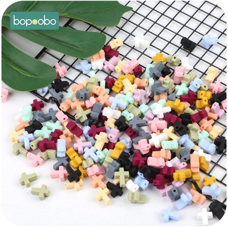 Bopoobo 50pc Silicone Beads BPA Free Silicone Cartoon Cross Baby Teether Silicone Baby Food Grade Chewable Teether  Baby Mobile