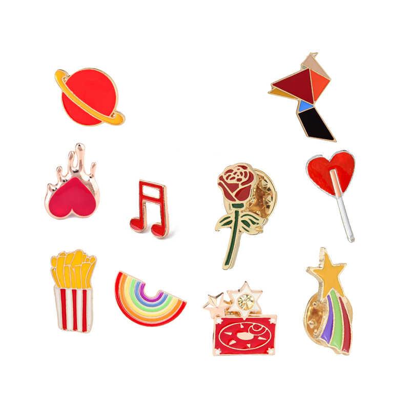Arcobaleno colorato Origami Coniglio star Spilla Cartone Animato Pianeta Rosa Nota Dello Smalto Spilli Giubbotti jeans Risvolto Spille Sacchetto Distintivo Gioielli Per Bambini