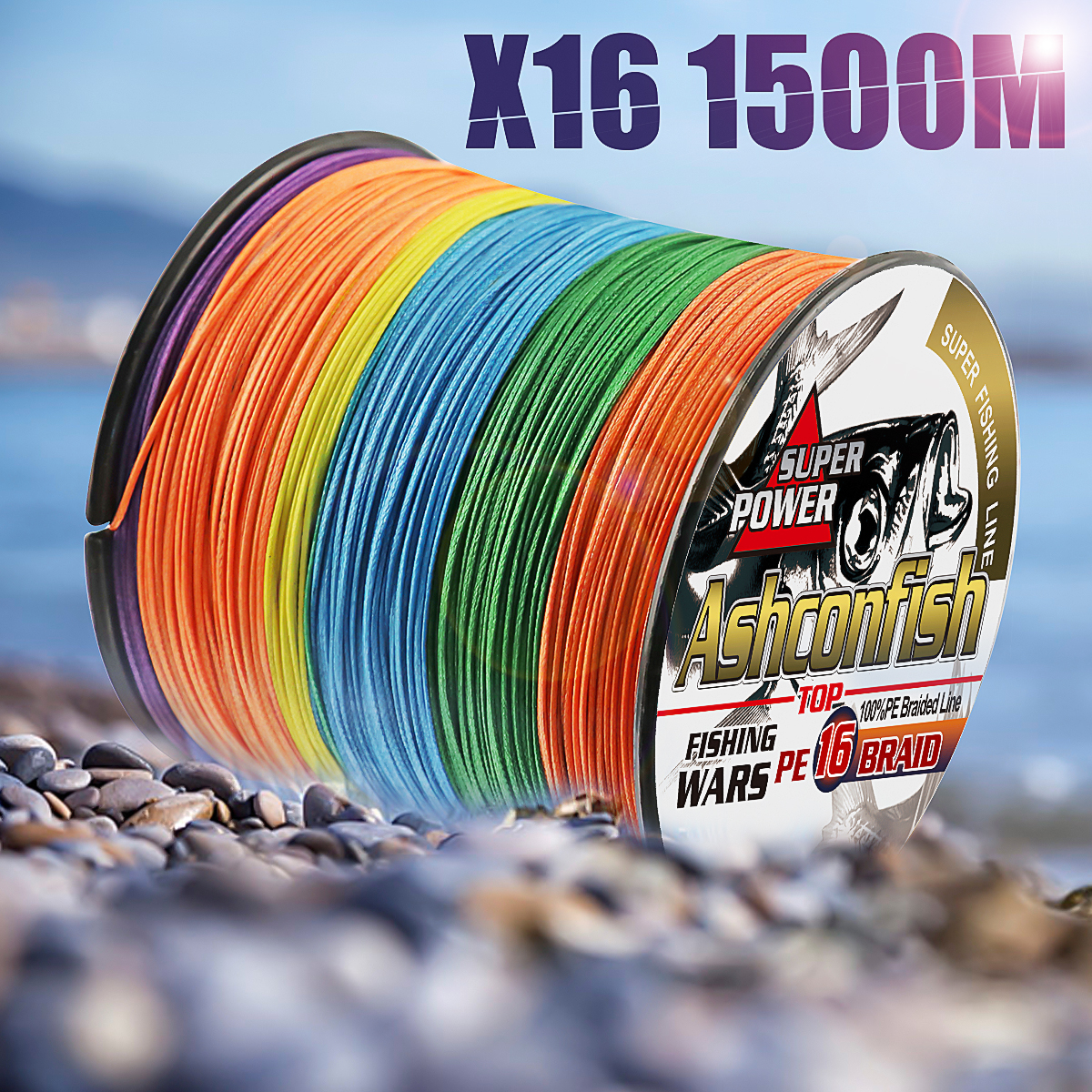 Super hollowcore braided fishing line 1500M 16 Strands pe super Ocean Fishing braided wires 20 500LBS leader line 0.16 2.0mm - 5
