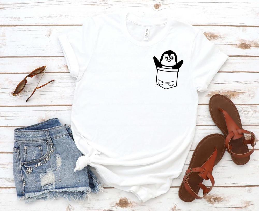 Funny Penguin Pocket Print Women Tshirt Cotton Casual Funny T Shirt Gift 90s Lady Yong Girl Drop Ship S-879