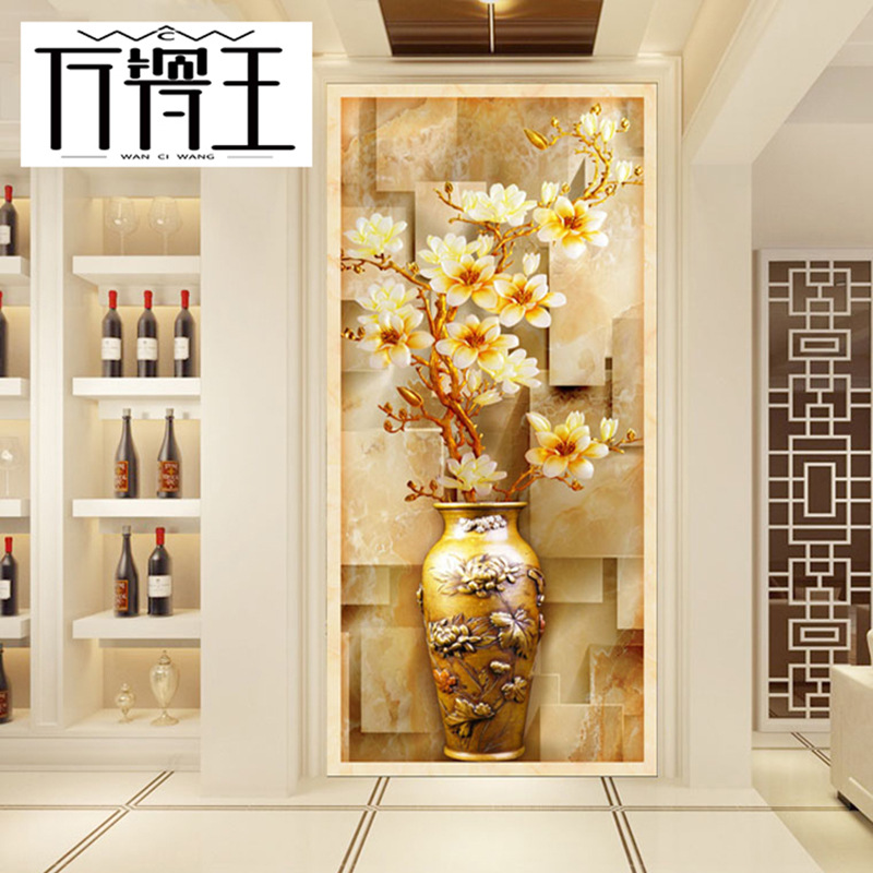 Entrance Wall Tile 3D Wall Tile Living Room Hallway Wall Tile Corridor Carving Mural Pin Hua Zhuan Vase