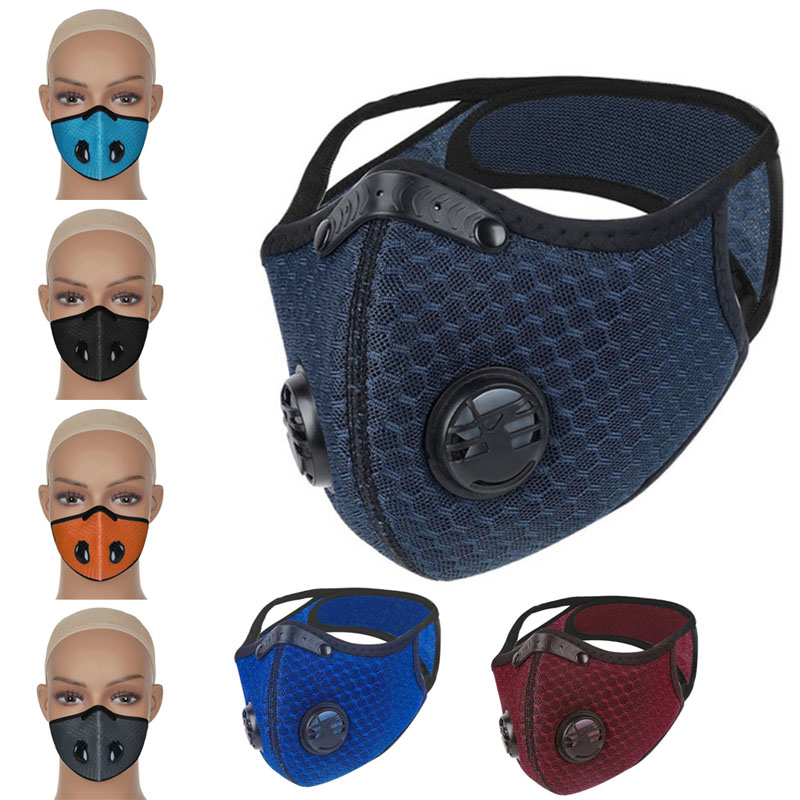 Motorcycle Dustproof Smog Riding Mask Replaceable Filter Activated Carbon Mask With Breathing Valve Protective Gears Tool Parts